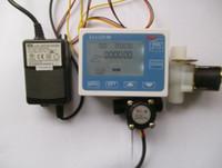 Wholesale G1 quot Water Flow Control LCD Display Flow Sensor Meter Solenoid Valve Gauge Power adapter