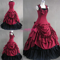 Wholesale Cheap Victorian Dresses Costumes - Cheap Princess Ball Bridal Gowns Vintage Gothic Victorian Style Cosplay Costumes Masquerade Halloween Party Unique Wedding Evening Dresses
