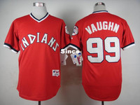 Wholesale 30 Teams Cleveland Indians Mens Jerseys Ricky Vaughn Red Baseball Jersey Stitched Name Logos