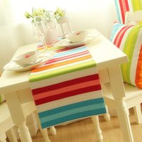 american flag candy - UN01 cm Contemporary candy color stripe American table flag Rainbow color table runner home decor fabric furnishings