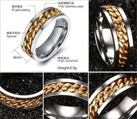 Wholesale FOGEOS L Stainless Steel mm Wide Gold Black Plated Rotatable Spinner Chain Man Ring His and Hers Promise Wedding Bands Valentines Gift