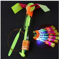 Wholesale Children Toys Shining Rocket Flash Copter Arrow Helicopter Neon Led Light Amazing Elastic Powered LED Arrow Helicopter Flying Toy Party Gift