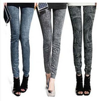 Acrylic jeans wholesale price - Factory Price Women Fashion leggings faux denim jeans looks ladies skinny leggings pencil pants slim elastic stretchy jegging