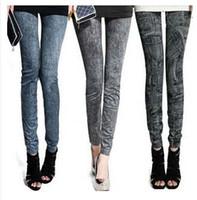 all'ingrosso pantaloni dimagranti-leggings donne di modo di prezzi di fabbrica di jeans in denim faux sembra scarni delle ghette della matita dei pantaloni da donna elastico sottile Jegging elastico # 71056