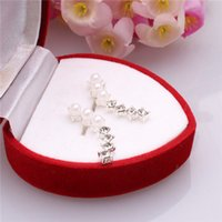 Wholesale 2015 New Arrival Special Sexy Pearl and Crystal Ear Hook Plugs Silver Pr