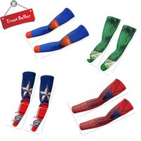 america arms - Outdoor cycling Arm Sleeves Ornament w Quick dry Function Breathable UV Protection Captain America iron man hulk spider man