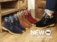 Cheap 2016 British style winter shoes woman snow suede boots flat heels martin boots men 39-44