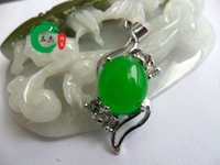 Wholesale New Hot Sell Tibet Silver Green Jade Malay jade pendant Necklace Crystal Pendants Silver necklaces Bridal Jewelry for wedding dress