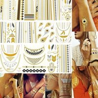 Wholesale 40 Kinds Design New Metallic Gold Body Art Temporary Tattoo Sexy Non Toxic Waterproof Flash Tattoos Sticker Bling Bling Flash Tats cm