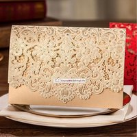 Wholesale 2016 New White Red Gold Floral Laser Cut Wedding Invitations Table Card Seat Card Place Card MYF116