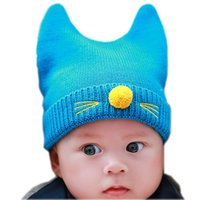 Wholesale Solid Cat Whiskers Knit Wool Kid Beanies Baby Infant Toddler Girl Cap For Boy Warm Hat Child Winter Hat Baby Thick Accessories