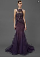 Wholesale Elegant Purple Lace Mermaid Evening Dresses With Heavy Beaded Neckline Crystal Prom Gowns Sweep Train Formal Women Gowns