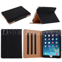 Wholesale iPad6 Air2 Tan Leather Wallet Stand Flip Case Smart Cover for iPadAir23456 Air Mini Mini2 Mini3 Retina With Auto Sleep Wake UP