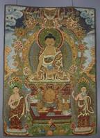 Wholesale Buddha meditation thangka silk brocade tibetan Buddha