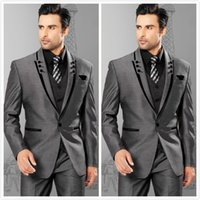 Wholesale Men Suits Slim Fit Peaked Lapel Grey Groom Tuxedos Mens Wedding Suits Groomsmen Suits One Button Mens Pieces Suit Jacket Pants Vest