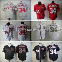 fashion baseball jerseys - 2016 Fashion New Discount Washington Nationals shirts Bryce Harper baseball Jersey blue white grey red Black men Top quality jerseys