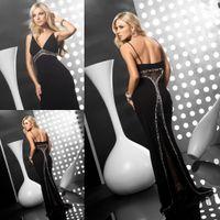 Cheap Wow!!Unique Design Black Prom Dresses V Neck Spaghetti Straps Sweep Train Beading See Through Sheath Style Women Evening Celebrity Dresses