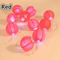 Cheap 2.4m 10 Lanterns Lantern LED String Light Chinese Style Red Paper LED Ballon Light for Home Party Wedding Decoration