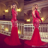 Cheap 2015 New Fashion Red Lace Sexy Mermaid Prom Dresses Bateau Neckline Long Sleeve Sweep Train Back Deep V Neck Hot Sale Evening Party Dress