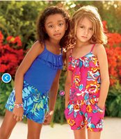 Cheap 2015 New Summer Romper Children Baby Girls Floral Printed Sling Romper Jumpsuits Kids Clothing girls clothing sets