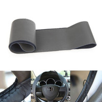 Wholesale Hot Sale DIY Genuine Leather Car Steering Wheel Cover Hand Sewing with Needle and Thread Gray