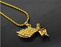 al por mayor bebé lleno de oro-Micro Ángel pieza collar del bebé del ángel de los colgantes de alta calidad de la manera de la estrella de Hiphop CHARM cadena de oro de 18 quilates llena los hombres collar de la joyería de la declaración