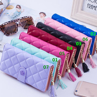 Wholesale New Arrivals Women Lady Wallets Clutch Bag Cards Holder Purses PU Leather Lozenge Zipper Long CM EK40
