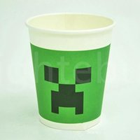 Wholesale New MineCraft Creeper Cupskids Cup Happy Birthday Party Christmas Decoration Tableware Kits Supplies Party Paper Cups Free DHL Factory Price