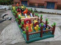 Wholesale Jurassic Jungle inflatable Obstacle Course and dragon inflatable fun city games