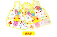 Wholesale EVA lace up tai wai four seasons disposable waterproof rice round The transparent rice children garments The baby to eat overall