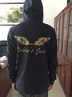 full zip hoodie - NEW MENS ROBINS JEANS Black Full Zip Comfort Fit Hooded Sweatshirts Wings Hoodie Jacket Outerwear NEW M L XL XXL XXXL