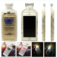 absolute green - Transparent Clear TPU Capa Luxury LED Flash Light Absolute Vodka alcohol Wine Bottle Phone Case Cover For iPhone s S s plus