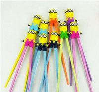 Wholesale 200 BBA4079 baby minion learning chopsticks cartoon minions chopsticks Educational despicable me silicone tableware christmas halloween gift