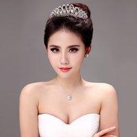 Cheap Shining Beaded Crystals Wedding Crowns 2015 Bridal Crystal Veil Tiara Crown Headband Hair Accessories Party Wedding Tiara 06