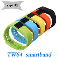 Wholesale Tw64 Smartband Smart bracelet Wristband Fitness tracker Passometer Sleep FunctionBluetooth for ios iPhone s Android or abov