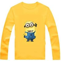 Wholesale New cartoon anime figure despicable me minion clothes minion costume kid clothes long sleeve t shirts girls boys t shirts