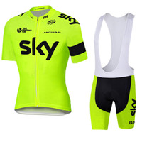 Prezzi Kit e bike-Giallo Fluo Mens ciclismo Jersey bicicletta e il ciclismo Salopette kit Mountain Road manica corta vestiti camicia Bike