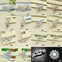 Wholesale Top Grade Silver Brooches Pins For Women Girl Gift Hot Sale Fashion Crystal Rhinestone Flower Bouquet Pin Brooche Free Ship DR