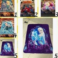 printed fleece blanket - 20pcs Coral Fleece Frozen Elsa Avengers Air condition Household Blankets Home Decoration Printed Soft Fleece Blanket