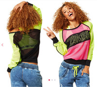 Wholesale S M L woman Tshirt fitness clothes Dance tops Glow Long Sleeve Pullover