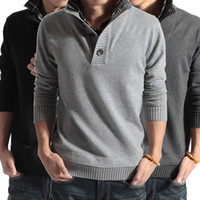 Wholesale Men Boy False Two piece Knit Pullover Plaid Collar Sweater Solid Color Knitwear