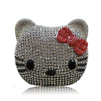 Wholesale Lovely Cartoon Cat Fashion Clutch Bags for Women Black White Mini Wedding Bridesmaid Clutches Luxury Crystal Valentine Party Evening Bags