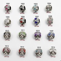 Wholesale 16 kinds Fit Pandora Charms Bracelets Original Beads Sterling Silver Beads European DAISY SILVER CHARM WITH CUBIC ZIRCONIA