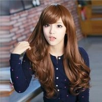 Wholesale Long straight hair wig long curly hair Qi oblique bangs pear head fluffy corn hot realistic big wave