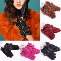 leather gloves - Elegant Women s High Street Solid Colors Gloves Sweet Bow Rivets Soft PU Leather Short Gloves GA0028