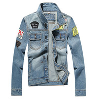 Wholesale Mens Denim Jacket high quality fashion Jeans Jackets Slim fit casual streetwear Vintage tide Embroidery epaulet jean outwear Plus Size M XL