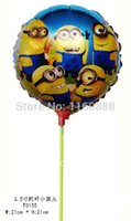 Wholesale inch little yellow man balloon with stick Despicable Me minions aluminum foil balloon for birthday party