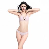 Wholesale Sling Swim Wear - Lace Up Strappy Sling Bikini Women Pink Swimsuit Two Piece 2016 Bikini Sexy Bathing Suit Womens New Arrival Swim Wear Brazilian