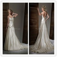 Wholesale Sexy Castle A Line One Shoulder Sleeveless Lace Up Court Train Beaded Bow Ruched Satin Champagne Wedding Dress free gift