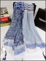 beach towels striped - The tassels of blue and white porcelain small floral zebra striped cotton scarf shawl beach towel explosion
